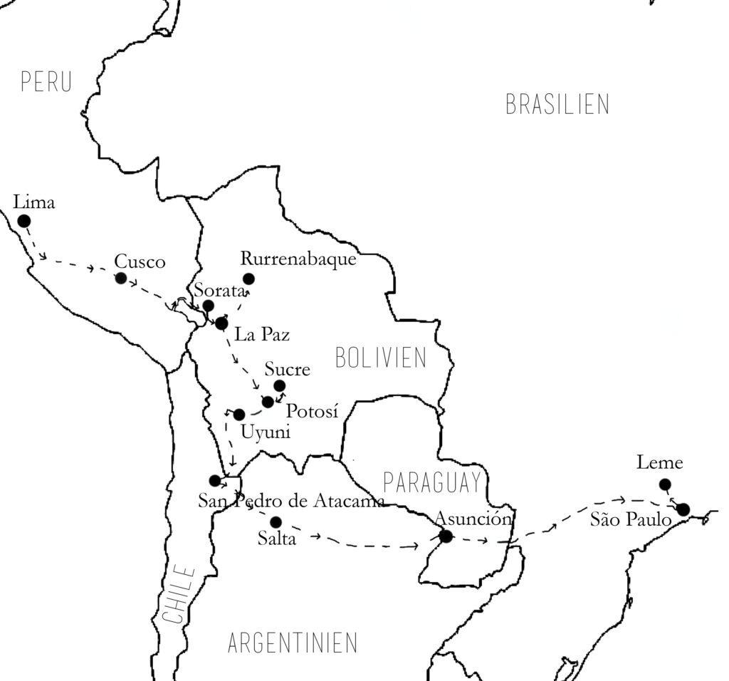 Reiseroute des Reisebuchs Zwischen den Zeilen reisen